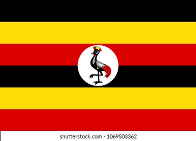 Flag of Uganda official colors and proportions, vector image.