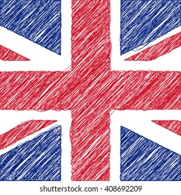 Flag of UK, pencil drawing vector illustration. English.