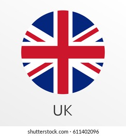 Flag of UK round icon or badge. United Kingdom and Great Britain circle button. British national symbol. Vector illustration.