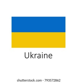 Flag of Ukraine with name icon. Official colors and proportion correctly. National Ukraine Flag vector. Ukraine Flag vector illustration. National Ukraine Flag vector on white background