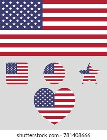 Flag of the Unated States of America vector illustration. The color and size of the original USA flag. Colored in flag colors shapes: square, circle, heart, star