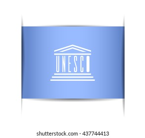 Flag of the UNESCO. Vector illustration of a stylized flag. The slit in the paper with shadows.