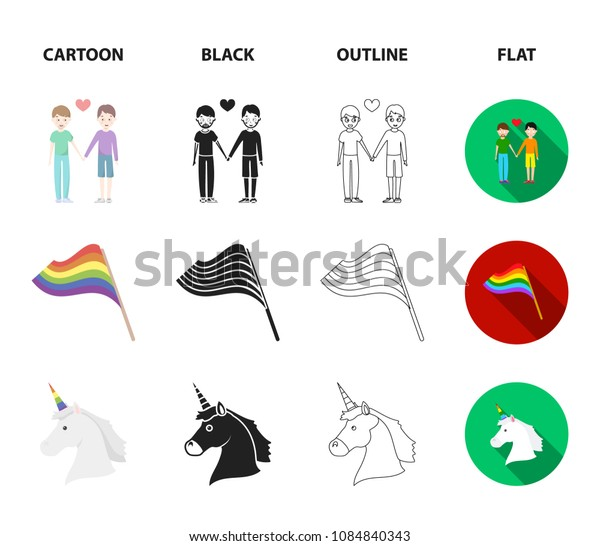 Flag, unicorn symbol, arrows with heart.Gay set collection icons in cartoon,black,outline,flat style vector symbol stock illustration web.