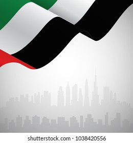 Flag of United Arab Emirates waving on a skyline background for your text. 3D Rendering. Vector Illustration EPS10.