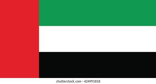 Flag Of United Arab Emirates.Proper Dimensions. Vector illustration
