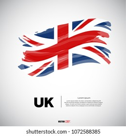 Flag of United Kingdom with brush stroke or paint on gray background vector illustration