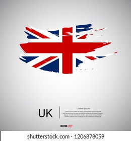 Flag of United Kingdom with brush stroke or paint on gray background vector illustration.