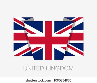 Flag of United Kingdom. Flat Icon Waving Flag with Country Name on a White Background