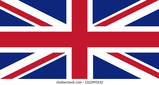 Flag of United Kingdom of Great Britain and Northern Ireland. Union Jack background. Royal Union Flag symbol. Canton at flags of Australia, New Zealand, Tuvalu, Cook Islands, Fiji.