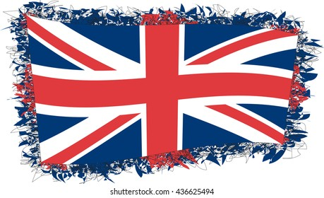 Flag of the United Kingdom of Great Britain and Northern Ireland. Vector illustration of a stylized flag. Shaggy edge.