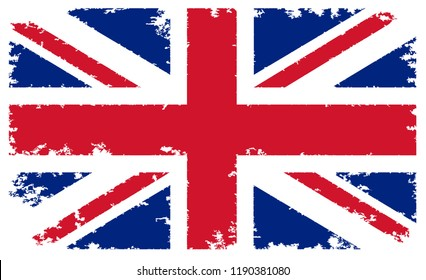 Flag of United Kingdom in grungy style.Vector grunge British flag.