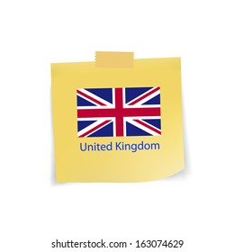 flag of united kingdom icon on note pad paper,vector