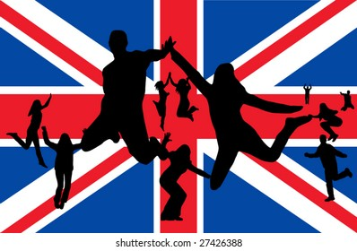 Flag of United Kingdom and people jumping