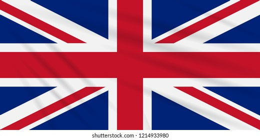 Flag United Kingdom swaying in wind, realistic vector.