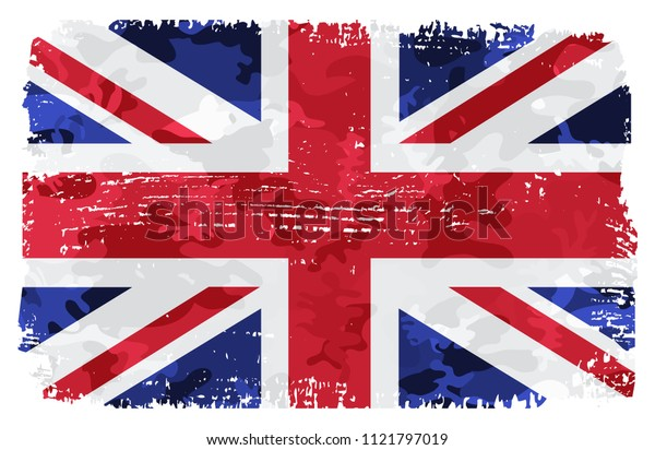 Flag of United Kingdom.Vector grunge UK flag.