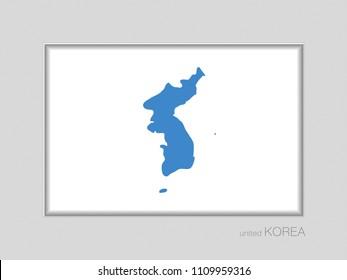 Flag of United Korea. National Ensign Aspect Ratio 2 to 3 on Gray Cardboard