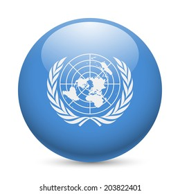 Flag of United Nations as round glossy icon. Button with flag design