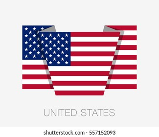 Flag of United States of America. American Flag. Flat Icon Wavering Flag with Country Name on a White Background