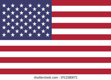 Flag of United States of America is a country primarily located in North America. Vector illustration