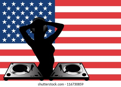 The flag of the United States of America with a female DJ wearing headphones with a set of decks