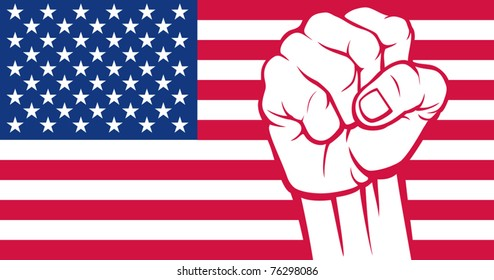 Flag of United States of America with fist