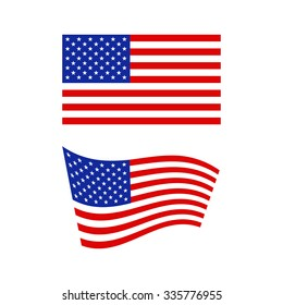Flag of the United States of America in flat and waving shape - vector illustration
