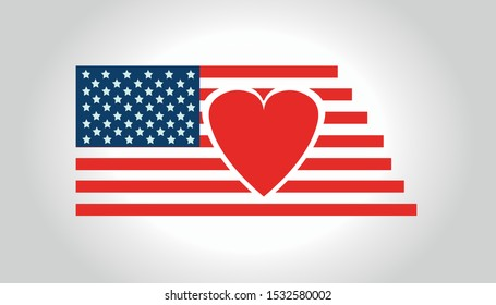 Flag of the United States of America with a heart inside