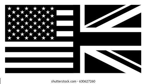 Flag of United States of America and United Kingdom , Vector flag black and white background of American and British