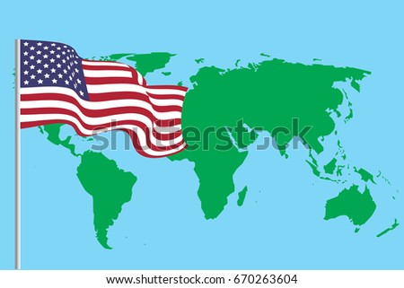 Flag United States America On World Stock Vector (Royalty Free ...