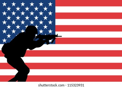 The flag of the United States of America with the silhouette of a soldier aiming his weapon