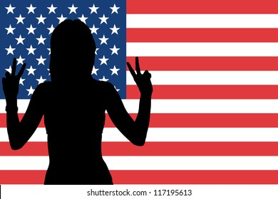 The flag of the United States of America with the silhouette of a woman with peace signs