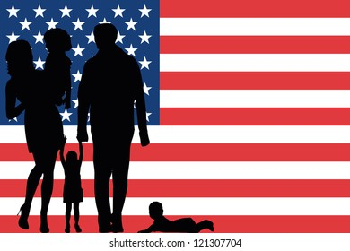 The flag of the United States of America with the silhouette of a family