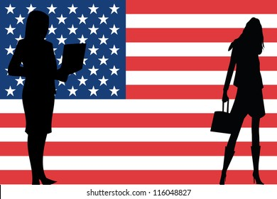 The flag of the United States of America with silhouettes of women in business women