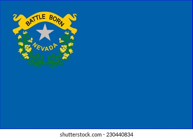 The flag of the United States of America State Nevada. Original Nevada flag isolated vector in official colors and Proportion Correctly.