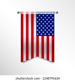 Flag of United States of America with texture. USA vector banner Flag, Hanging on a Silver Metallic Poles. Vertical USA flag template isolated on a white background. National flag concept.Vector EPS10