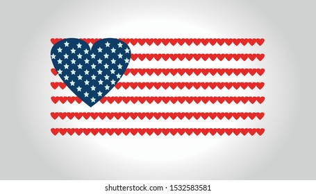 Flag of the united states of america (USA) from hearts
