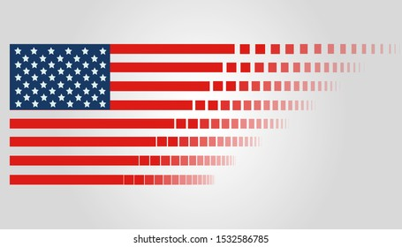flag of united states of america (USA) with spraying stripes