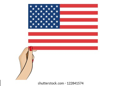 The flag of the United States of America in a vector womans hand