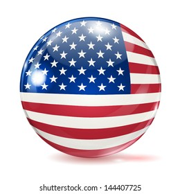 Flag of the United States in the form of ball with glare and shadows on white background