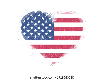 Flag of United States in grunge heart shape.