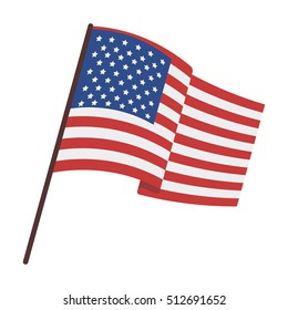 Flag of the United States icon in cartoon style isolated on white background. USA country symbol stock vector illustration.