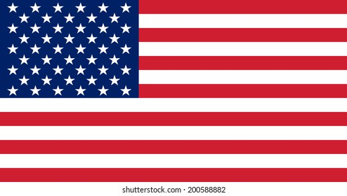 Flag of the United States. Vector illustration. The color and size of the original.