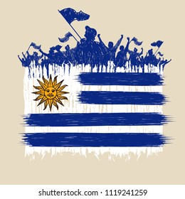 Flag of Uruguay,  fans of silhouette, hand point, vector