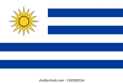 Flag of uruguay, flat icon. Simple, vector illustration for web or mobile app