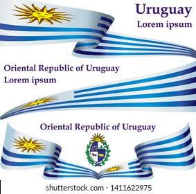 Flag of Uruguay, Oriental Republic of Uruguay. Template for award design, an official document with the flag of Uruguay. Bright, colorful vector illustration.