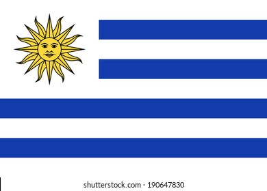 Flag of Uruguay. Vector. Accurate dimensions, elements proportions and colors.