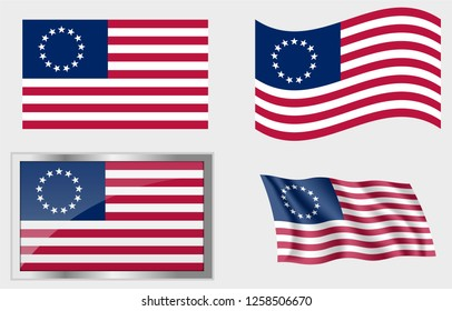 Flag of the US 13 Stars Betsy Ross