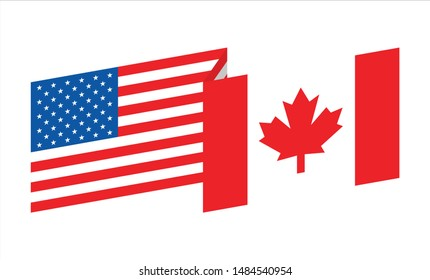 The flag of US America and Canada. Vector logo. Icon symbol. Cooperation two Nation Country.
