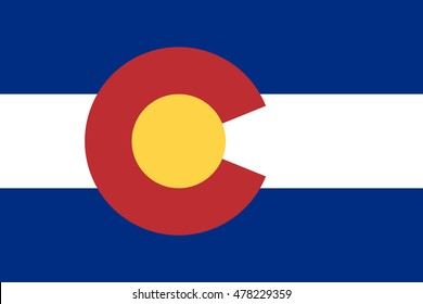 Flag of the US state of Colorado in correct size, proportions and colors. Colorado official symbol. American patriotic element. USA banner. United States of America background. Vector illustration