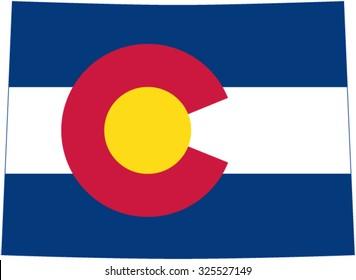 flag of the US State Colorado in the form of state borders